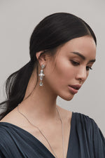 White Gold Plated Long Silver Earrings with Pearl