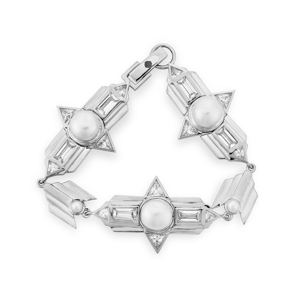 Babylon White Gold Plated Silver Bracelet with Pearls