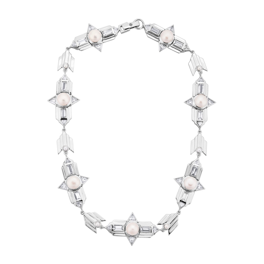 White Gold Plated Silver Choker Necklace with Pearls