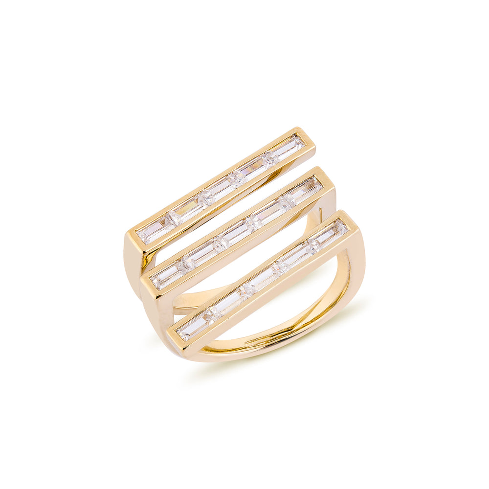 Waree Gold Plated Silver Ring with Cubic Zirconia