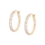 Waree Gold Plated Silver Hoop Earrings with Zirconia