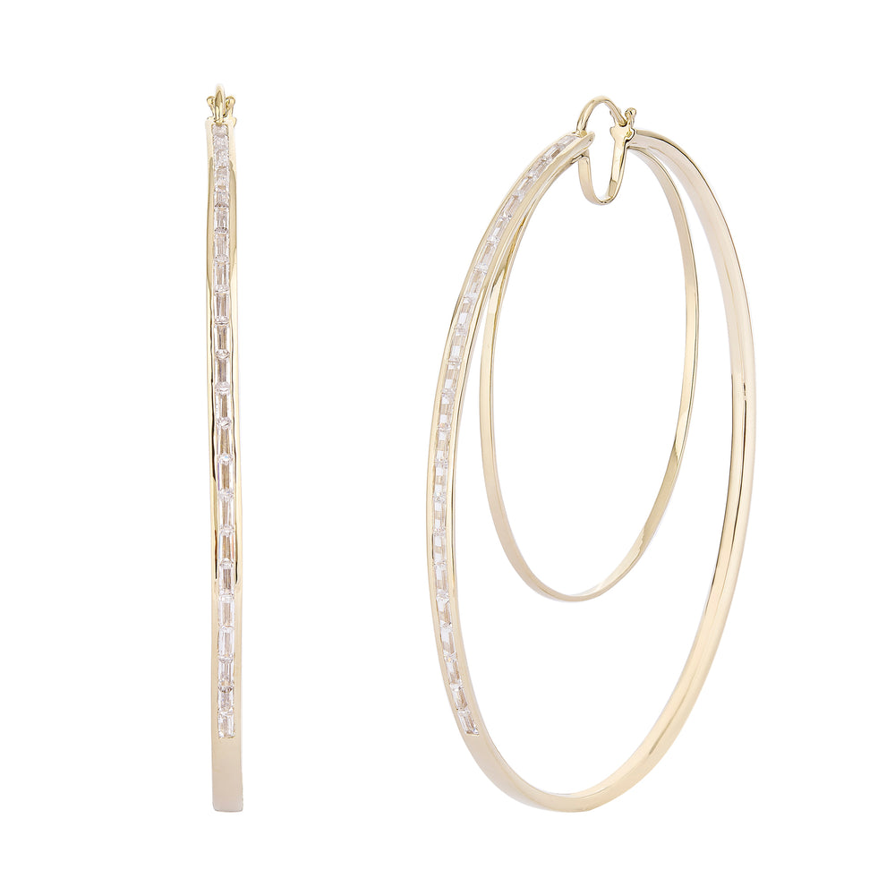 Waree Statment Silver Hoop Earrings Gold Plated