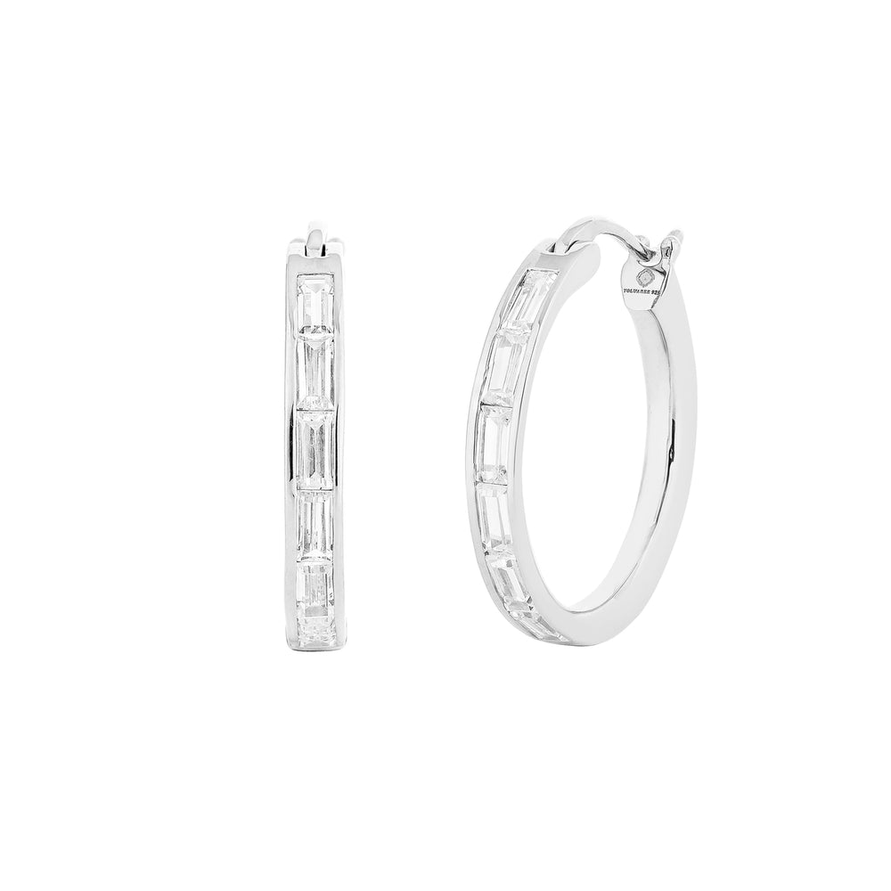 Waree White Gold Plated Silver Hoop Earrings with Zirconia