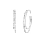 Waree White Gold Plated Double Hoop Silver Ear Cuff