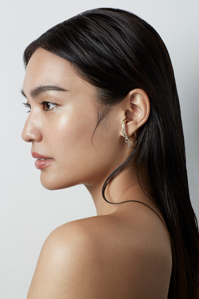 Waree Gold Plated Double Hoop Silver Ear Cuff