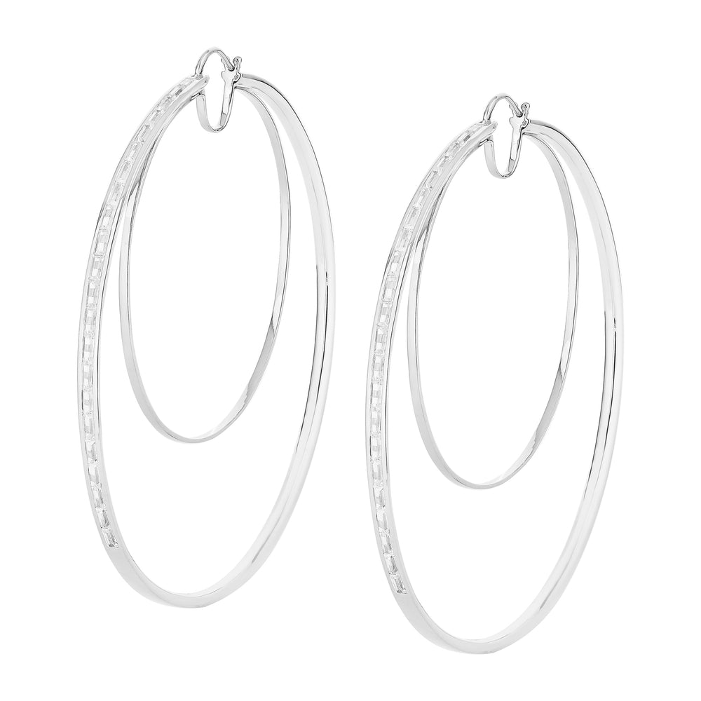 Waree Statment White Gold Plated Hoop Silver Earrings