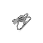 X Zip Silver Ring Black Rhodium Plated