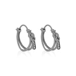Zip Black Rhodium Plated Hoop Silver Earrings with Zirconia