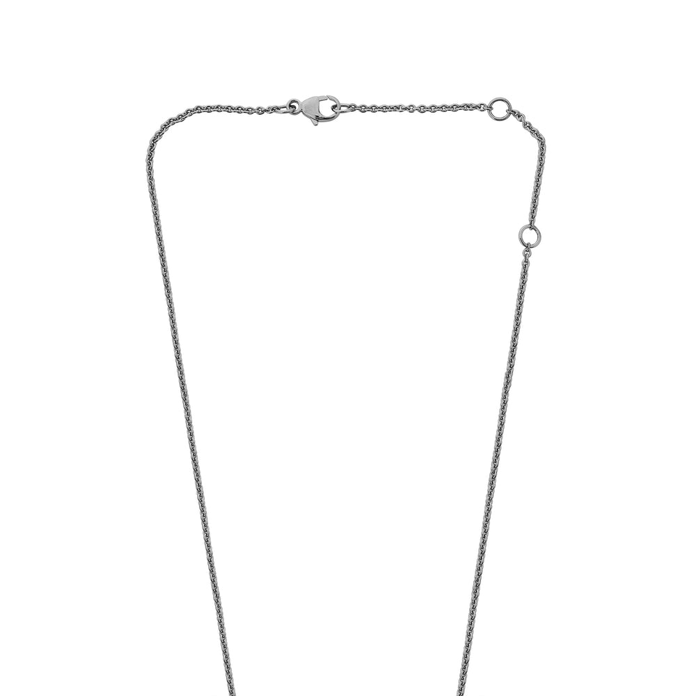 Zip Lariat Black Rhodium Plated Silver Necklace with Zirconia