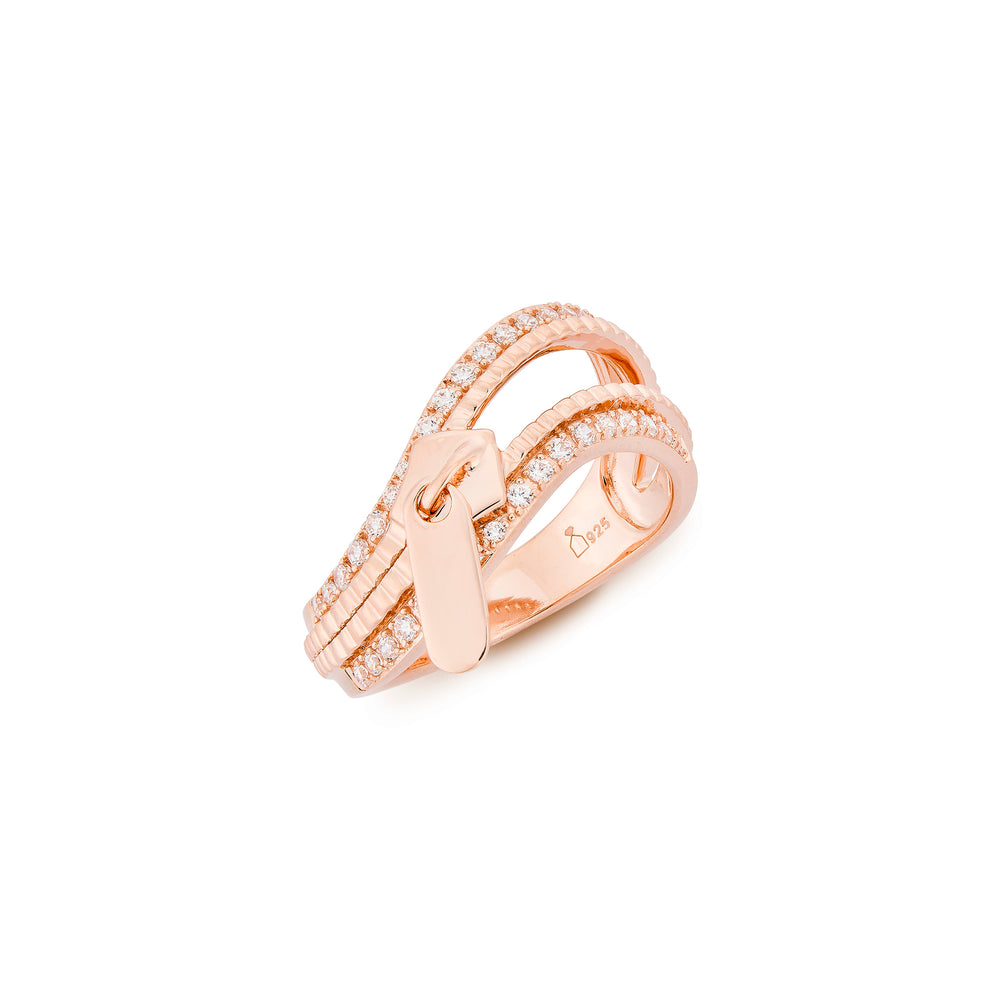 Rose Gold Plated Silver Zip Ring with Cubic Zirconia
