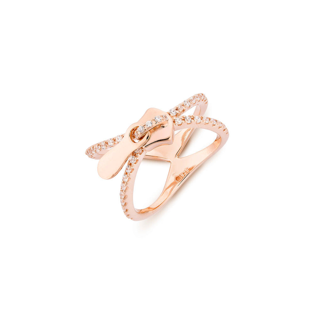 X Zip Silver Ring Rose Gold Plated