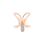 Xtra Zip Rose Gold Plated Silver Ring with Cubic Zirconia