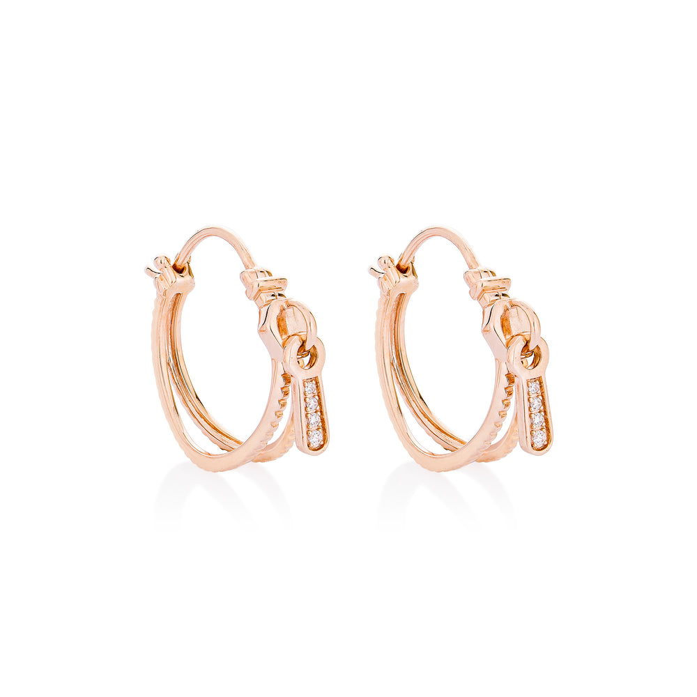 Zip Rose Gold Plated Hoop Silver Earrings with Zirconia