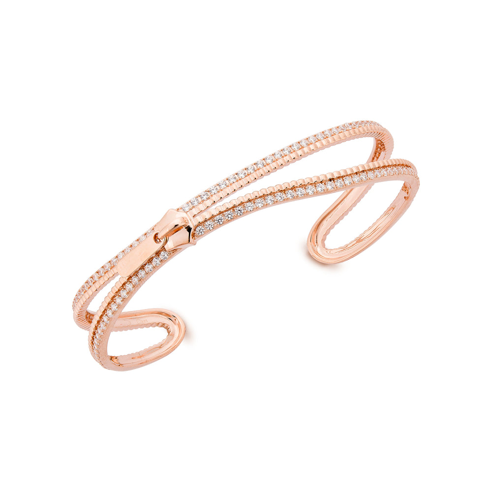 Rose Gold Plated Silver Zip Bangle Bracelet with Zirconia