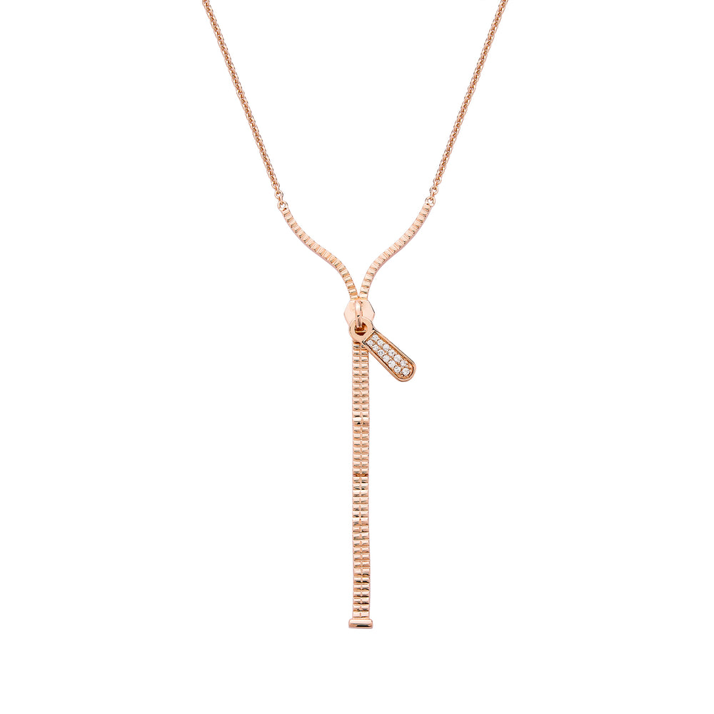 Zip Lariat Rose Gold Plated Silver Necklace with Zirconia