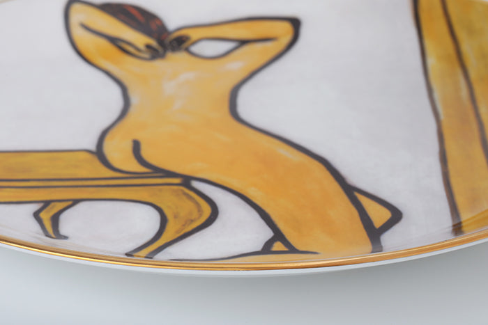 "Woman in Bath 12"" Bone China Gold Transfer Round Plate"