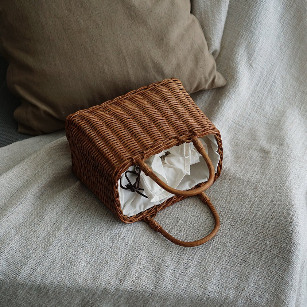 Brown Basket Rattan Satchel Bag