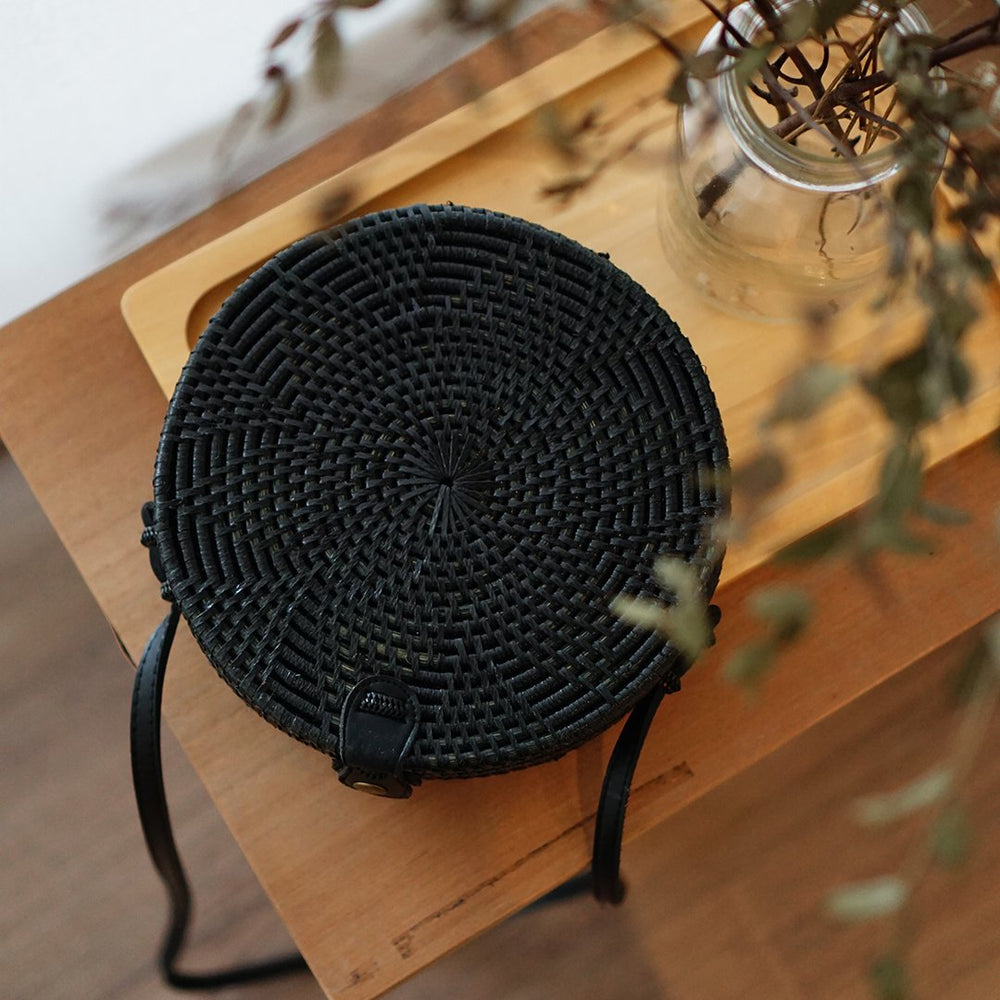Black Flower Bali Rattan Crossbody Bag