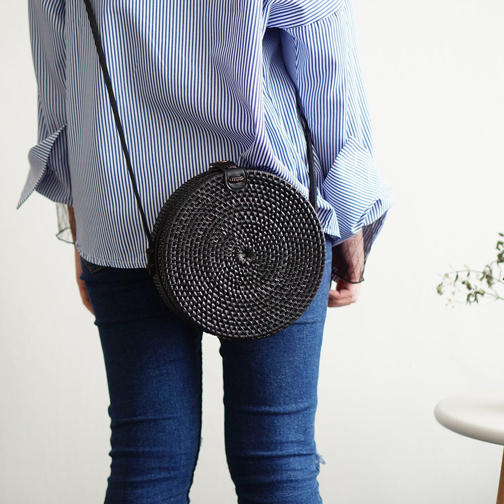 Plain Black Bali Rattan Crossbody Bag