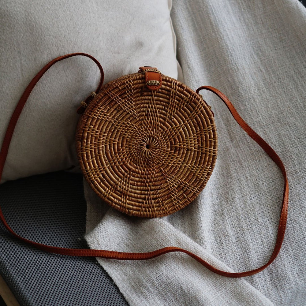 Brown Handmade Flower Bali Button Closure Rattan Crossbody Bag