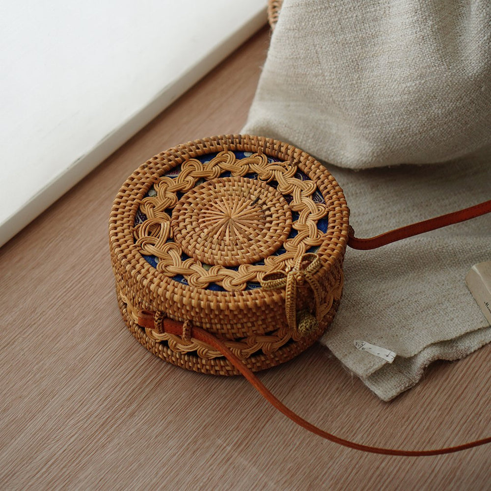 Handmade Full Braided Bali Bow Clip Closure Rattan Bag