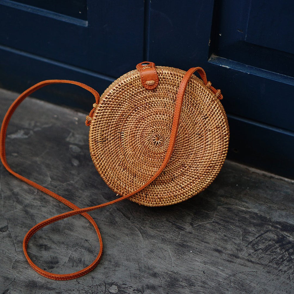 Plain Brown Bali Button Closure Rattan Crossbody Bag