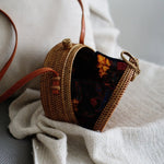 Plain Brown Bali Bow Closure Rattan Crossbody Bag