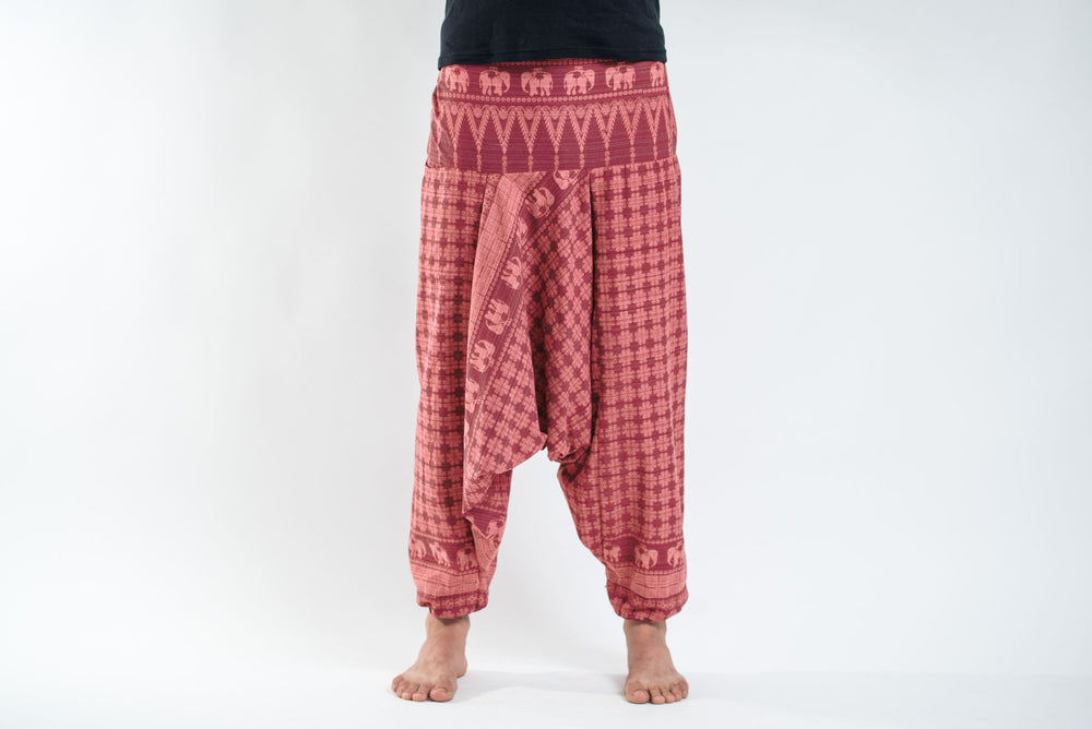 Women's Red Yoga Pants with Hill Tribe Elephants
