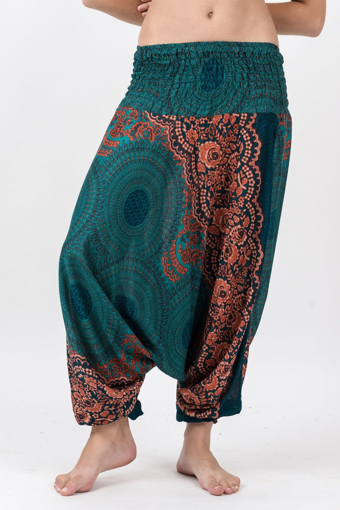 Women's Geometric Turquoise Mandala Jumpsuit Yoga Pants