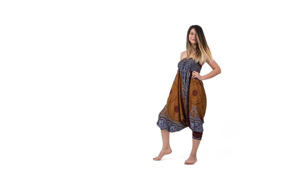 Women's Geometric Bronze Mandala Jumpsuit Yoga Pants