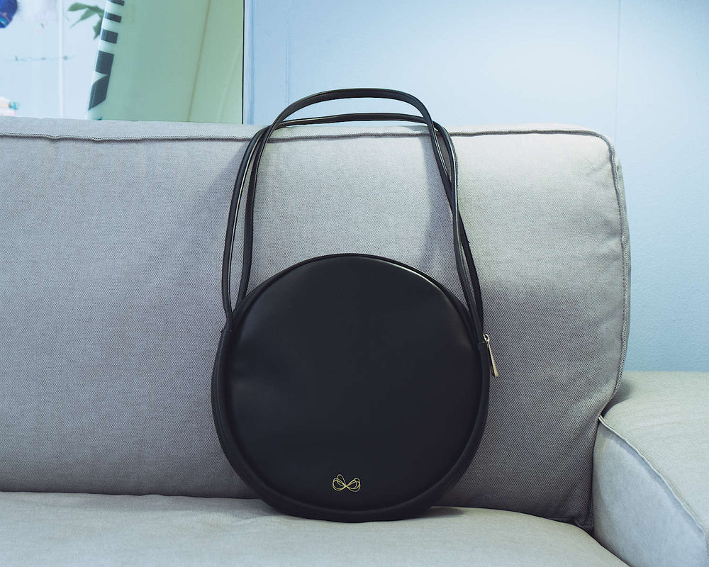 Vegan Leather Round Black Bag