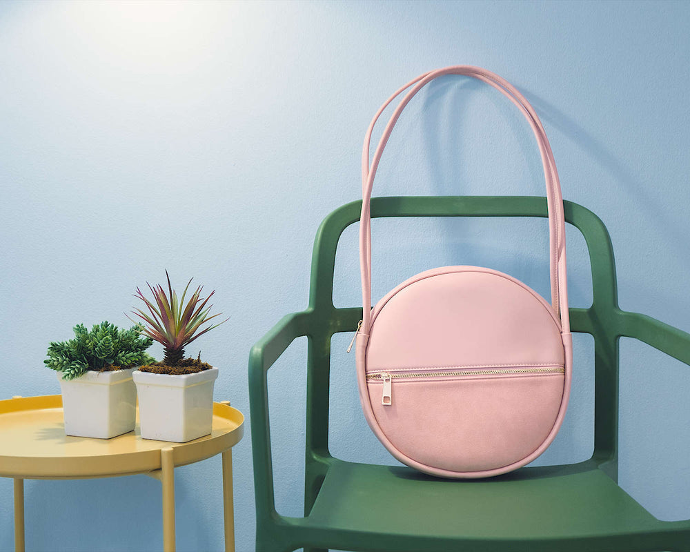 Vegan Leather Round Pink Bag