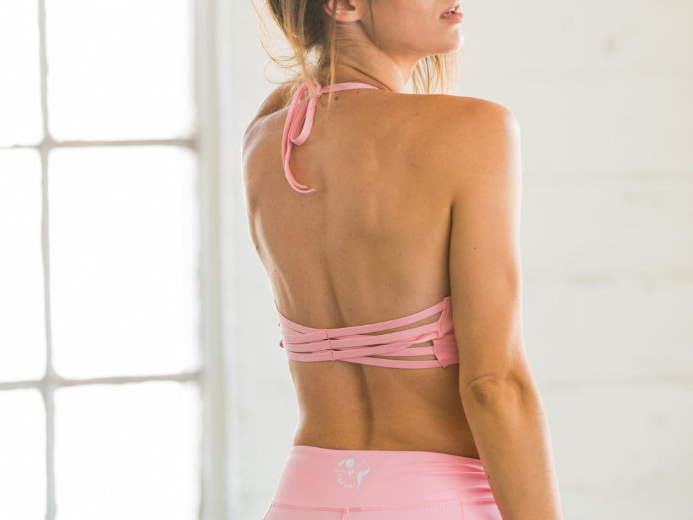 Baby Pink Yoga Bralette with Criss Cross Back