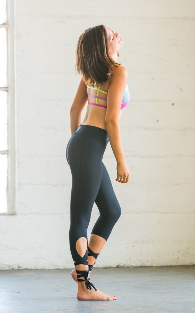 Black Dancer Leggings with Ankle Ties