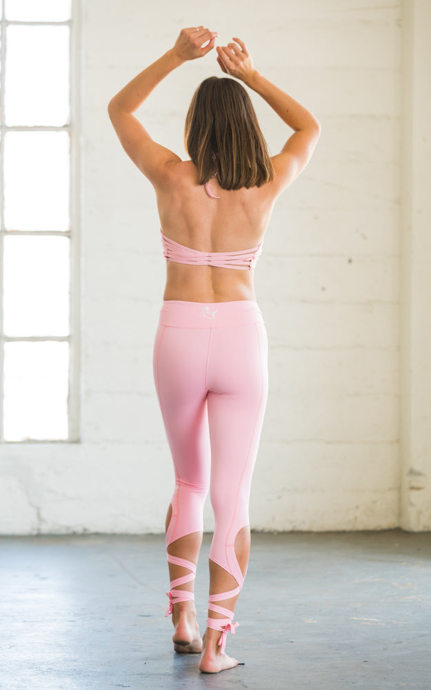 Coral Pink Dancer Leggings with Ankle Ties
