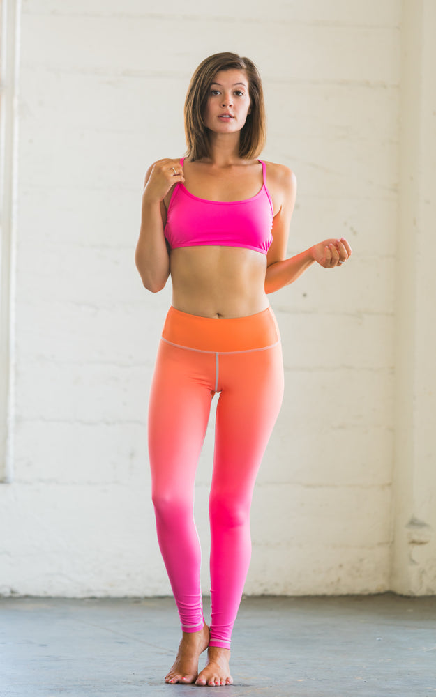 Flexi Lexi Fitness Orange Pink Ombre Super Soft Stretchy Yoga Pants Leggings