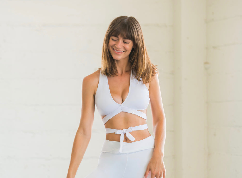 White Sports Bralette with Front Tie