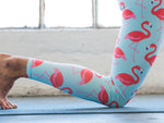 Blue High Waisted Yoga Pants with Flamingo Pattern