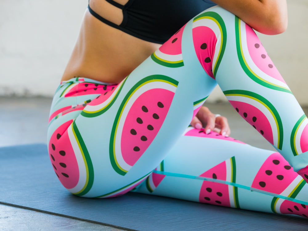 High Waisted Yoga Pants with Watermelon Pattern