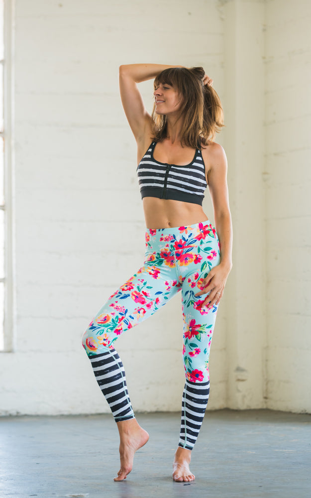 High Waist Yoga Pants Floral Stripes