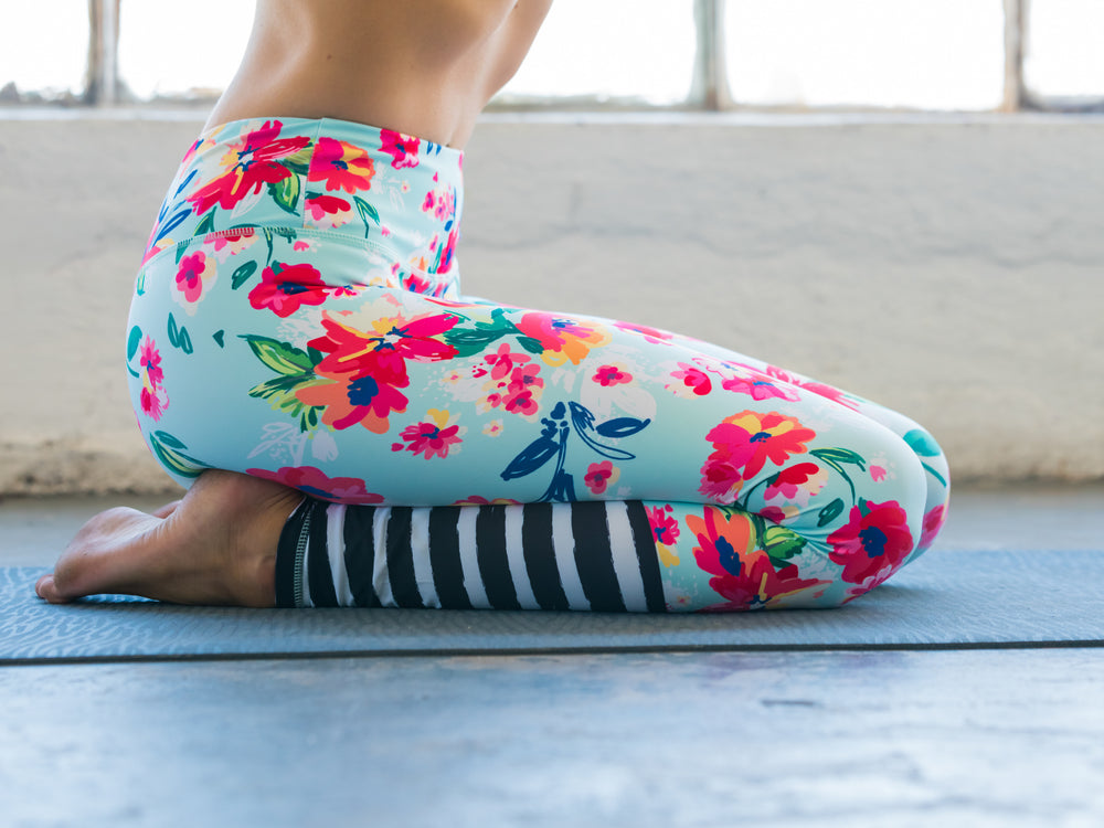 High Waisted Yoga Pants with Floral Pattern and Stripes
