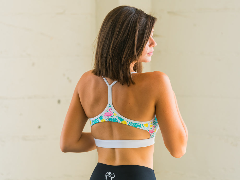 Front Zip Sports Bra with Leaves Pattern