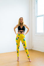 High Waist Yoga Pants Yellow Parrots