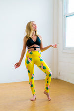 Yellow High Waisted Yoga Pants with Parrots Pattern