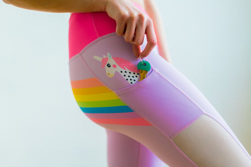 High Waist Yoga Pants Pink Unicorn Pocket