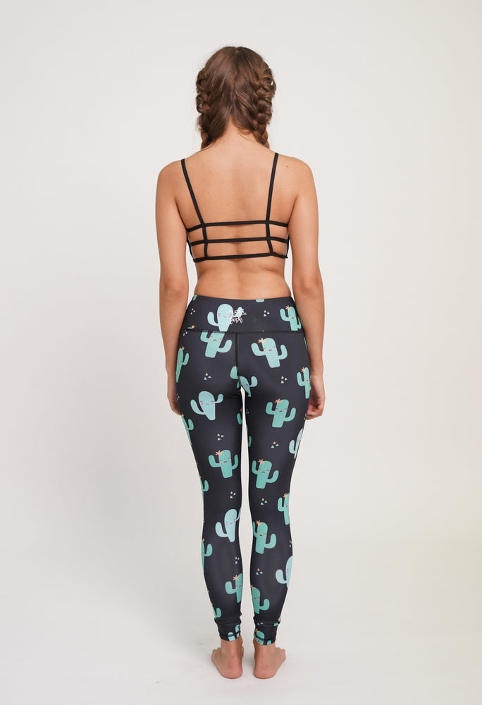 Black High Waisted Yoga Pants with Cactus Pattern