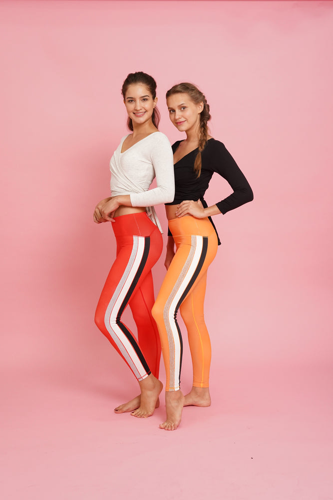 Orange High Waisted Yoga Pants for Women