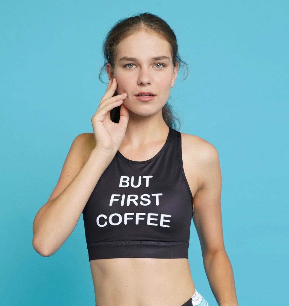 Flexi Lexi Fitness But First Coffee Sleeveless Yoga Crop Top with Removable Pads