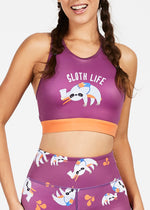 Flexi Lexi Fitness Sloth Life Recycled Polyester Sleeveless Yoga Crop Top