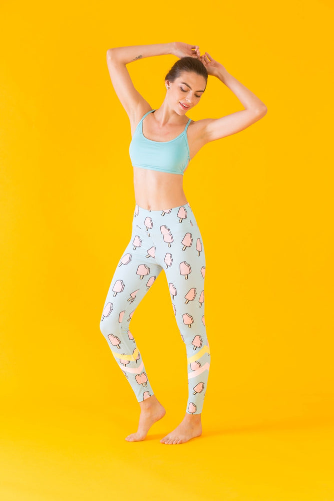 High Waisted Yoga Pants with Lollipop Pattern